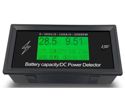 Монитор постоянного тока 300В 100А - вольтметр, амперметр, ваттметр, измеритель емкости, энергии
