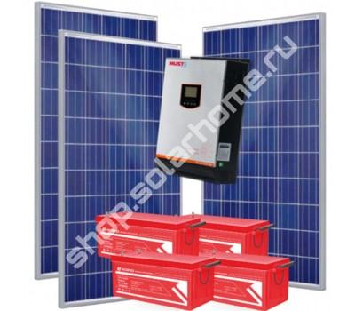 Комплект с солнечными батареями для резервного электроснабжения дачи 3 кВт, 4.6 кВт*ч