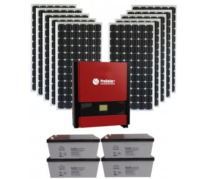 Резервно-сетевая система 3 кВт с СБ и гибридным инвертором